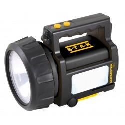Faro ricaricabile antiblackout led 10w cree con lanterna e lampeggiante laterale power bank valigetta