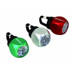 Cube mini lampe torche porte-clefs en aluminium brossé 6 led piles incluses assortiment 3 couleurs