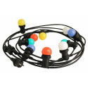 Colour party light 6m black outdoor light chain with 10 multicoloured bulbs