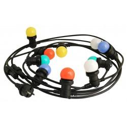 Color party light guirlande lumineuse noire 6 mètres avec 10 ampoules multicolores pour lextérieur