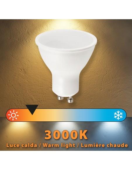 Lampadina SMD LED, Spot attacco GU10, 230V, 6W/470lm, 3000K, 120° LB106-30K Spot SMD Velamp