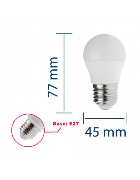 Lampadina SMD LED, Sfera P45, 6W/470lm, base E27, 4000K
