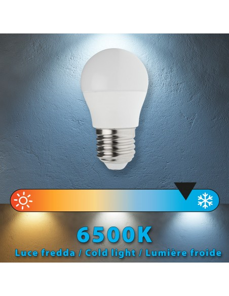 Lampadina SMD LED, Sfera P45, 6W/470lm, base E27, 6500K