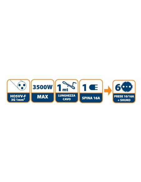 Italian power strip 6 inputs, 1.5 m cable and compact plug MULTIT-I-S60 Velamp Italy multisockets