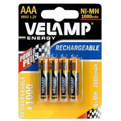 Batteria ricaricabile Ni-mAh 1,5V MINI STILO 1000 mAh - 4 Pezzi HR03-1000/4BP Pile ricaricabili Velamp