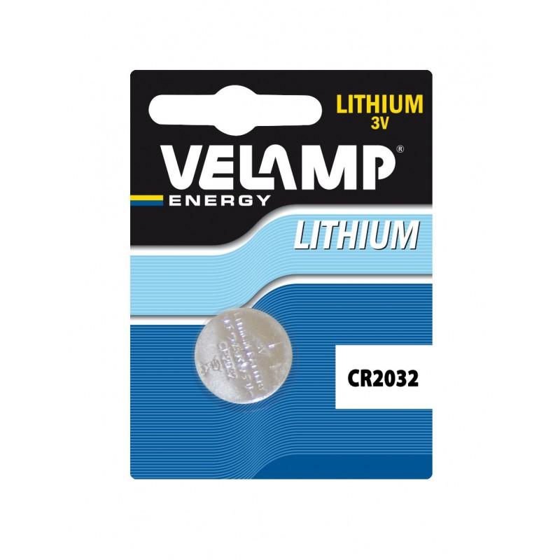 Pila bottone al litio CR2032, 3V 210mAh CR2032/1BP Batterie litio Velamp
