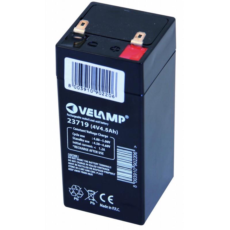 4V 4,5Ah rechargeable lead Acid battery 23719 Velamp 4V Sealed lead acid rechargeable batteries