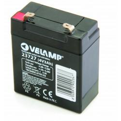 Batteria ricaricabile al piombo 4v 3ah attacchi faston 23727 Batterie ricaricabili al piombo 4v Velamp
