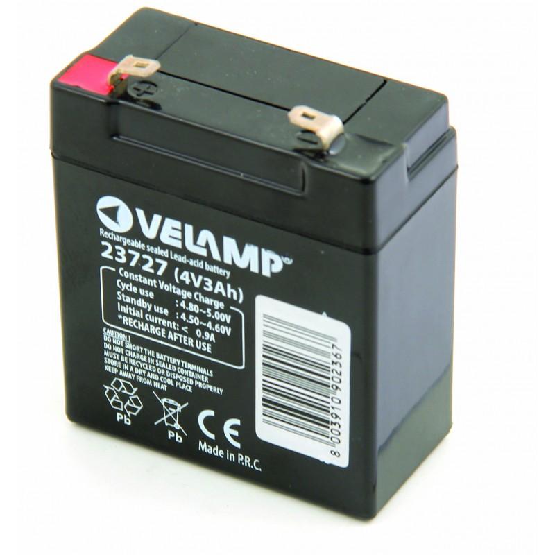 4V 3Ah rechargeable lead Acid battery 23727 Velamp 4V Sealed lead acid rechargeable batteries