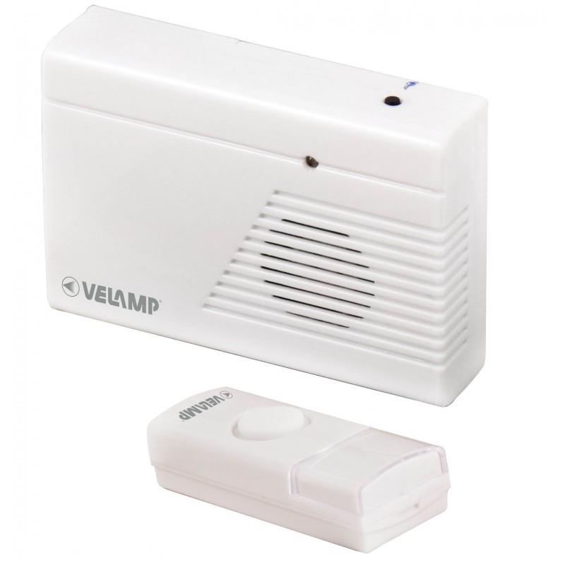 DOORBELL: wireless doorbell, 100 meters, 25 melodies, red LED. White DOM001.006L Velamp Wireless doorbells