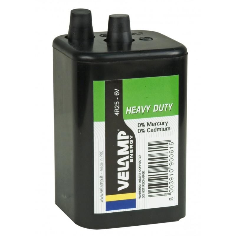 Pila zinco carbone quadrata, 4R25, 6V  4R25/1B Pile zinco carbone Velamp
