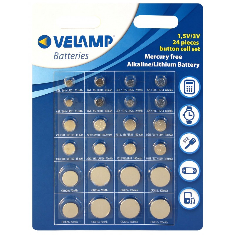 Set di 24 pile a bottone alcaline e litio CR24X Batterie litio Velamp