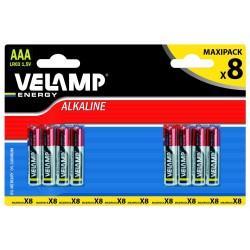 Pila alcalina mini stilo lr03 aaa 1,5v blister da 8 LR03/8BP Pile alcaline Velamp