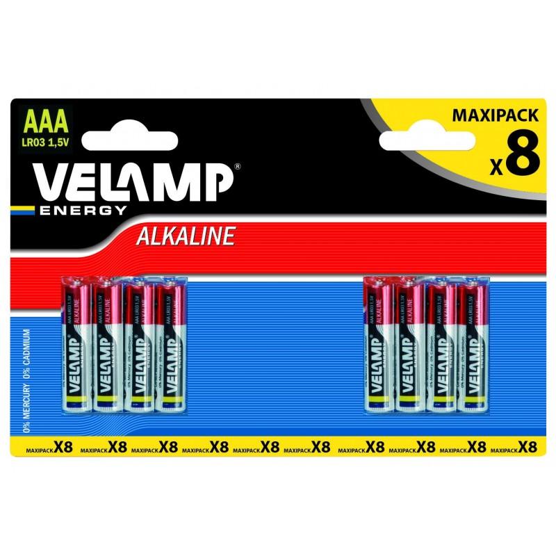 8 pieces blister MINI STILO LR03 AAA 1,5V alkaline dry batteries LR03/8BP Velamp Alkaline