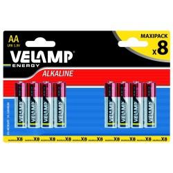 Pila alcalina stilo lr6 aa 1,5v blister da 8 LR6/8BP Pile alcaline Velamp