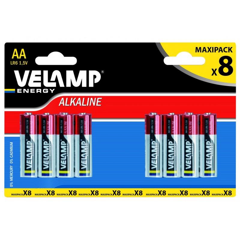 Pila alcalina STILO LR6 AA 1,5V - Blister da 8 LR6/8BP Pile alcaline Velamp