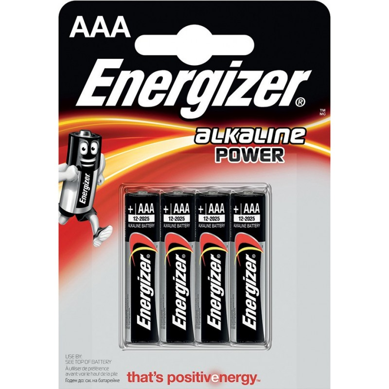 ENERGIZER blister Pack of 4 alkaline batteries POWER LR03 (AAA) NLR03X4 Velamp Pile Energizer