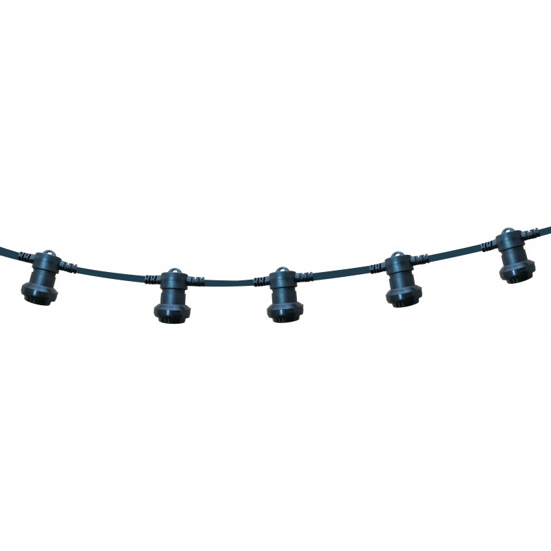 PARTY LIGHT: IP44 extendable light chain 10m, 10xE27 lamp holders, black PS100B Velamp Extendable light chain