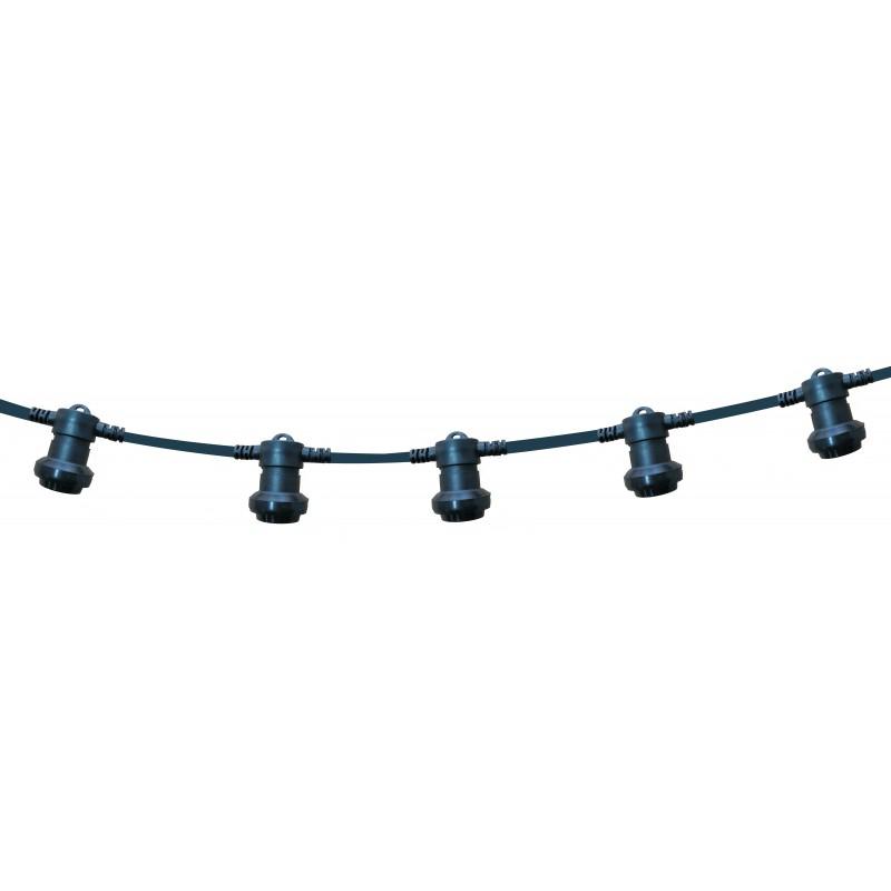 PARTY LIGHT: IP44 extendable light chain 20m, 20xE27 lamp holders, black PS200B Velamp Extendable light chain