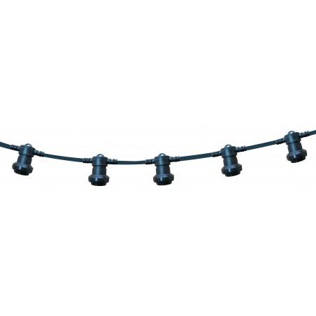 PARTY LIGHT: Guirlande IP44 prolongeable 20m, 20 douilles E27, noir PS200B Guirlandes lumineuses Velamp