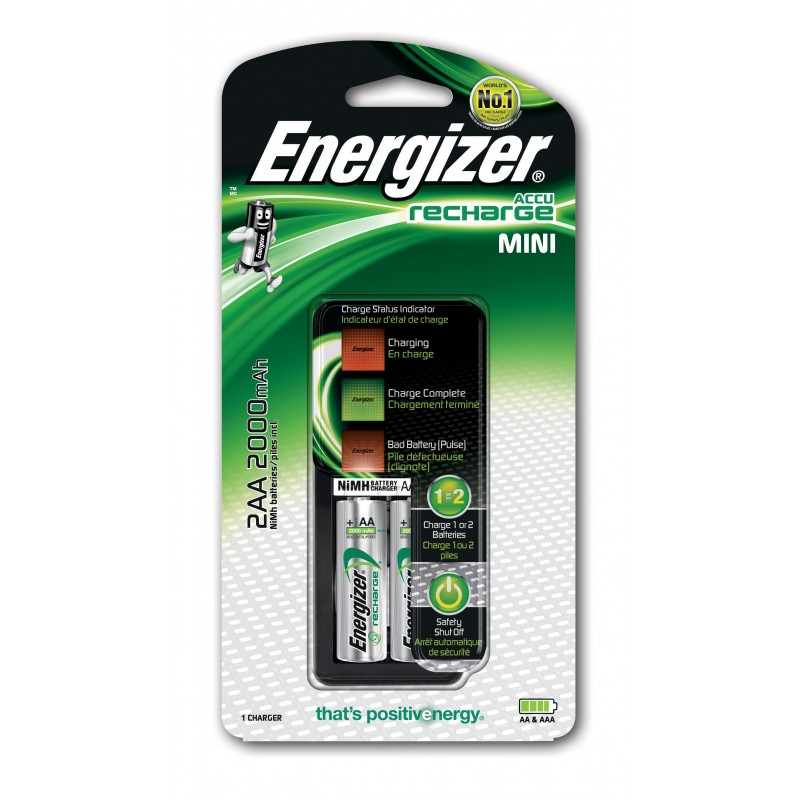ENERGIZER caricabatterie con 2 batterie HR6 (AA) NCBT07 Pile Energizer Velamp