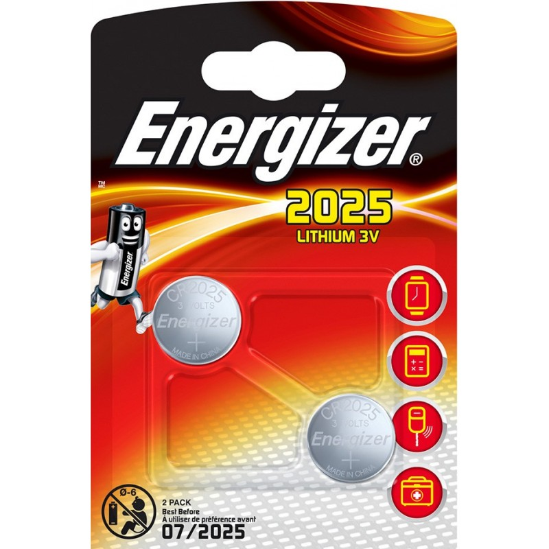 ENERGIZER blister Pack of 2 CR2025 batteries NCR2025X2 Velamp Pile Energizer