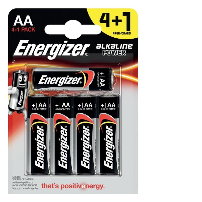 ENERGIZER blister di 5 pile alcaline POWER LR6 (AA) NLR6X5 Pile Energizer Velamp