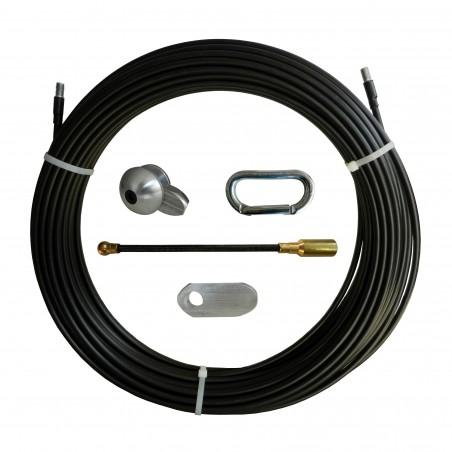 Sonda tiracavi in Nylon-acciaio, nera, Ø10 mm, 40 metri, con perni filettati M12 intercambiabili SAN10-040 Sonde uso industri...