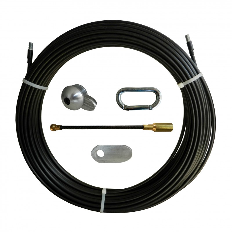 Nylon-steel cable pulling probe, black, Ø10 mm, 100 meters, with interchangeable M12 threaded pins SAN10-100 Stak Fishtapes f...