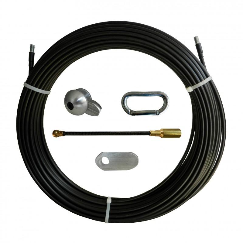 Sonda tiracavi in Nylon-acciaio, nera, Ø10 mm, 100 metri, con perni filettati M12 intercambiabili SAN10-100 Sonde uso industr...