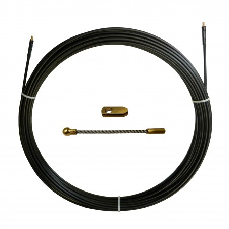 Guia pasacables de nylon-acero, negra, Ø6 mm, 30 metros SAN6-030 Stak Sondas para implantaciónindustrial