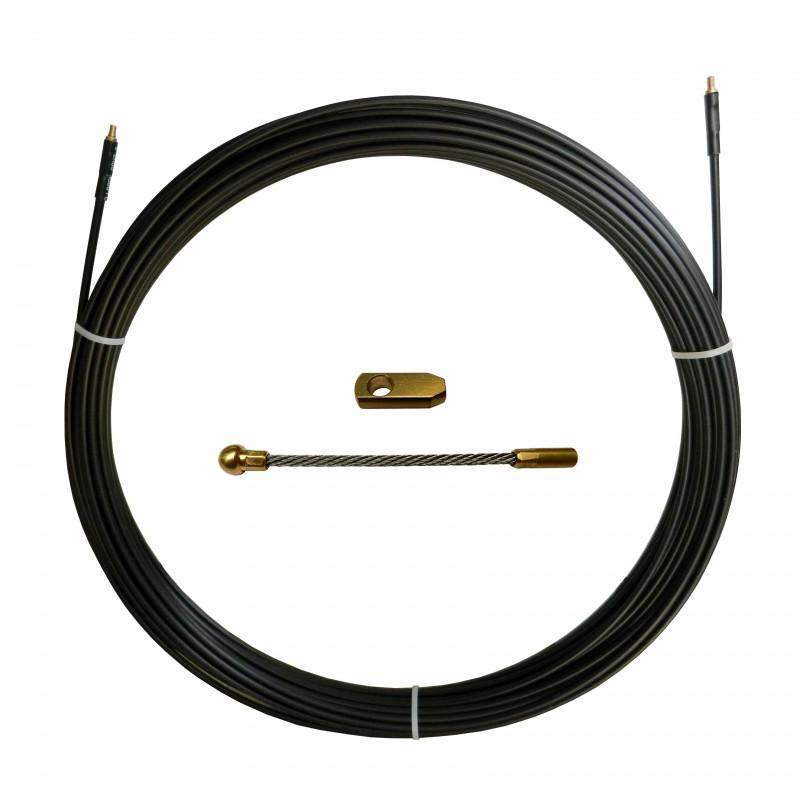 Guia pasacables de acero de nylon, negro, Ø6 mm, 60 metros SAN6-060 Stak Sondas para implantaciónindustrial