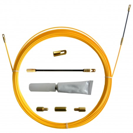 SNAKE cable pulling probe in fiberglass Ø3 mm, 10 meters. With repair set SFR-010 Velamp Fishtapes for civil use