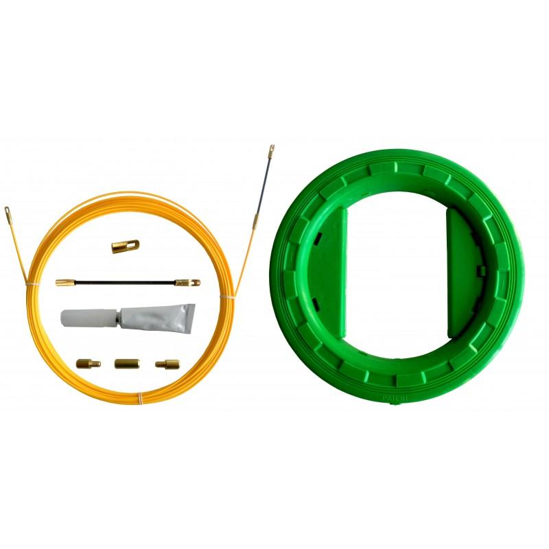 SNAKE Kabelzugsonde aus Glasfaser Ø3 mm, 10 Meter. Mit Reparaturset UND Rolle SFULL-010 Professionelle Sonden für private An...