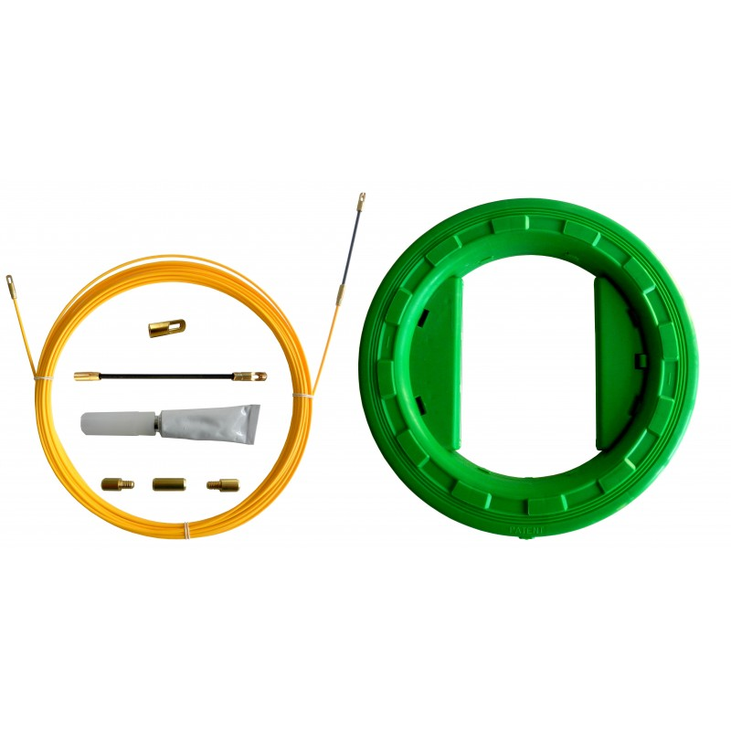Sonda tiracavi SNAKE in fibra di vetro Ø3 mm, 30 metri. Con aspo e set di riparazione SFULL-030 Sonde uso civile Stak