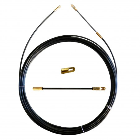Perlon cable pulling probe, black, Ø 4 mm, 10 meters, with interchangeable terminals SPN4-010 Stak Fishtapes for civil use