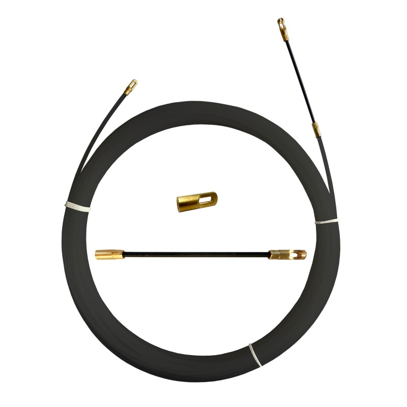 Guia pasacables de nylon, negra, Ø 4 mm, 5 metros, con terminales fijos SYB4-005 Stak Sondas profesionales para implantacion ...