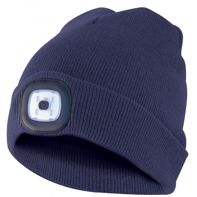 LIGHTHOUSE: Beanie with rechargeable LED headlamp. Navy blue CAP04 Velamp LED beanies