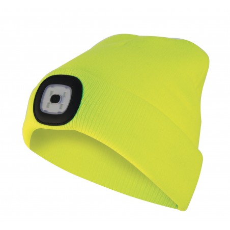 LIGHTHOUSE : Bonnet avec frontale LED rechargeable. Jaune fluo CAP07 Torches LED Velamp