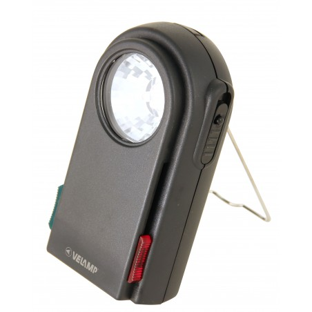 Torcia 3 LED con filtri colorati e pulsante morse. In plastica, nero.  LC350 Torce Velamp