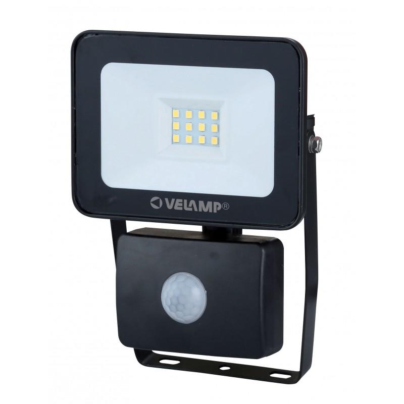 Proiettore LED SMD 10W IP44, nero, 6500K. Con Rilevatore di movimento IS743-3-6500K Faretti LED da esterno Velamp