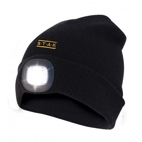 Beanie with rechargeable LED headlamp and red back light. black ST011 Velamp Heavy duty worklights
