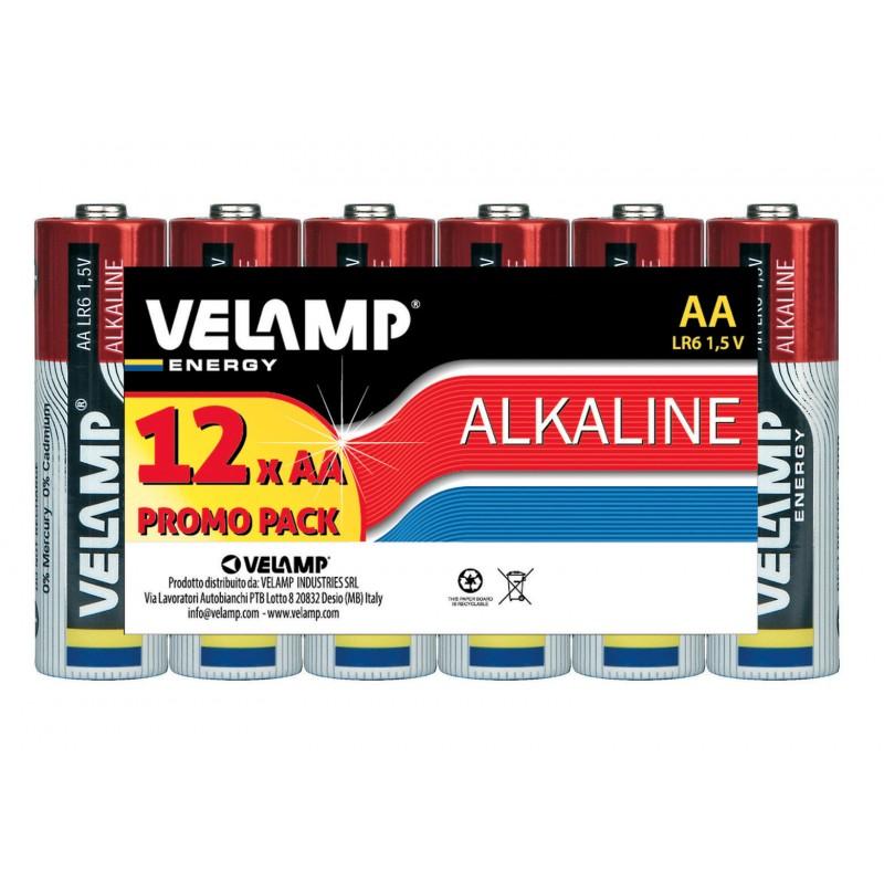 Mulitpack de 12 piles alcalines stilo LR6 AA, 1,5V, longue durée LR6/12PACK Alkaline Velamp