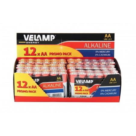 Pila alcalina stilo, LR6 AA, 1,5V - Multipack da 12 LR6/12PACK Pile alcaline Velamp