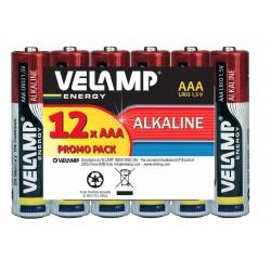 Pila alcalina mini stilo LR03 AAA, 1,5V - Multipack da 12 pile LR03/12PACK Pile alcaline Velamp