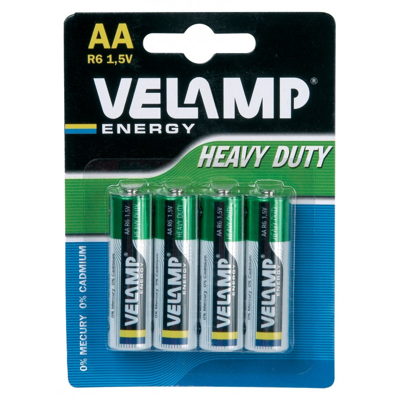 R6 AA 1,5V zinc carbon battery. Blister of 4 pieces R6/4BP Velamp Zinc-Carbon