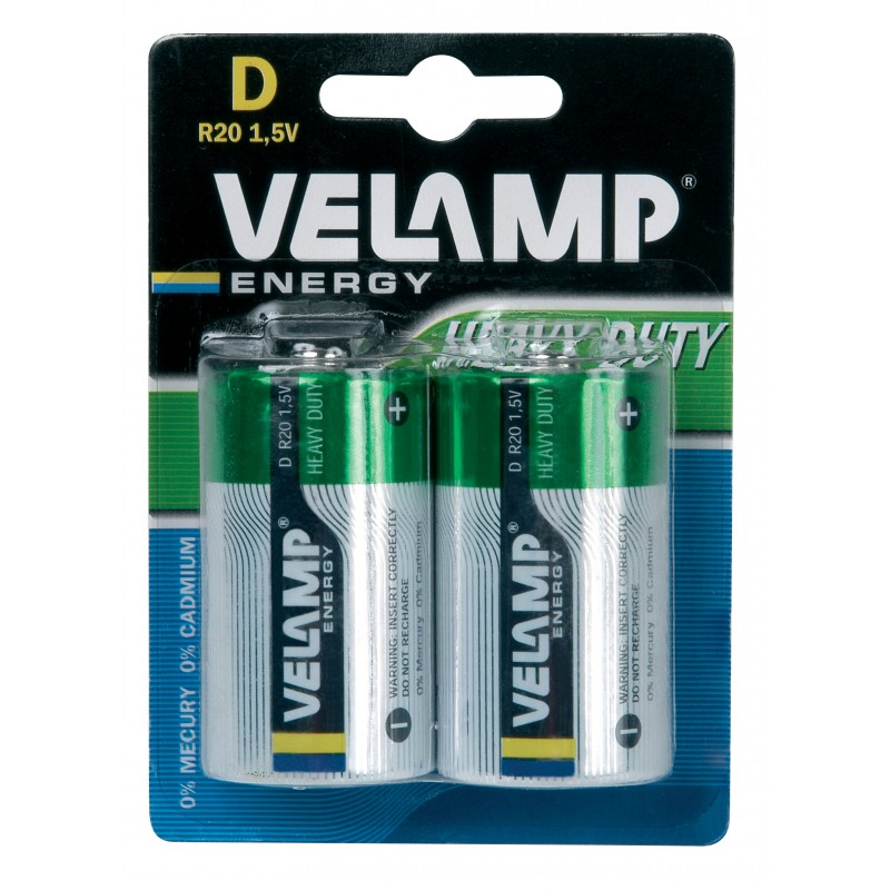 R20 D 1,5V zinc carbon battery. Blister of 2 pieces R20/2BP Velamp Zinc-Carbon