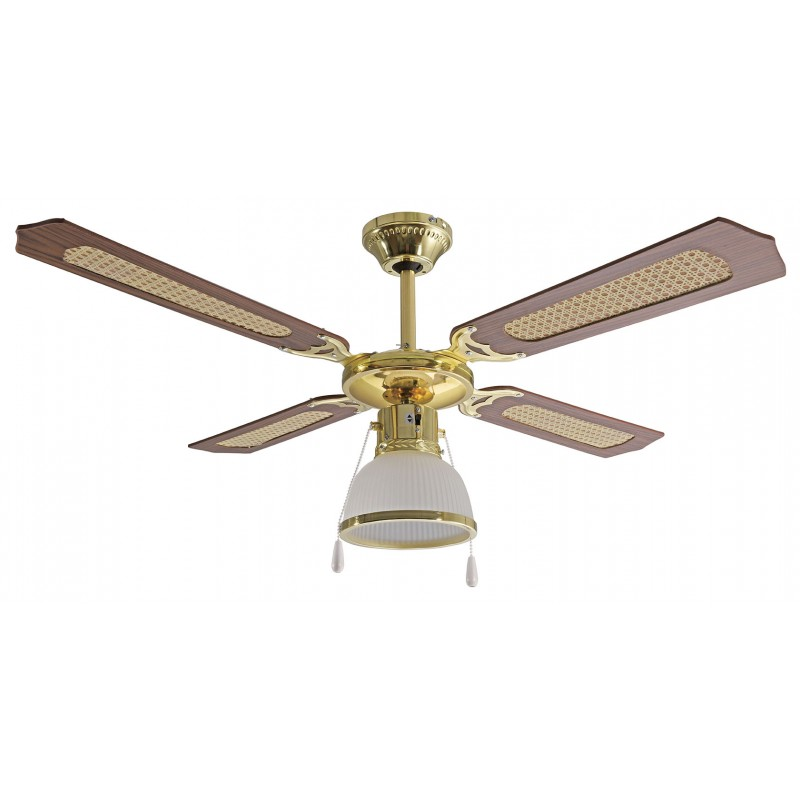 Ventilatore a soffitto 107cm con portalampada con catenella havana3 VENT-CEL33 Ventilatori da soffitto Velamp