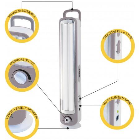 TWIX: Lampe portative rechargeable anti-coupures d'électricité, 2 tubes LED 500lm 43cm IR163 Luci di emergenza portatili Velamp