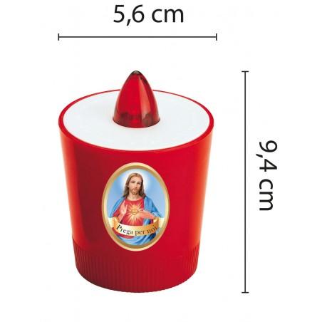Lumino votivo led pile incluse 60 gg di luce immagine gesù IL01G Lumini votivi Velamp